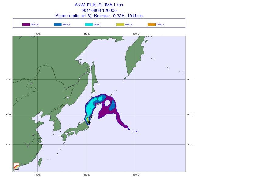 Ausbreitung der Wolke von Fukushima/ tagelange Freisetzung
