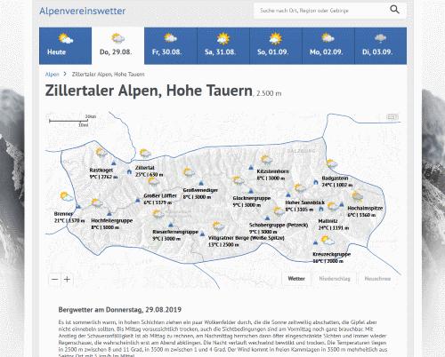 Alpenverein erweitert Wetter-Service