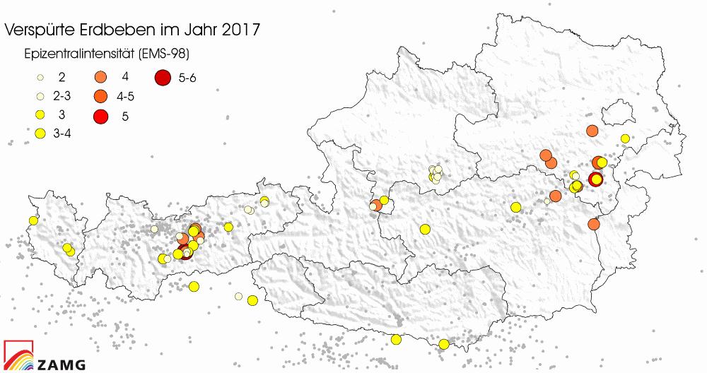 2017 überdurchschnittlich viele Erdbeben in Österreich