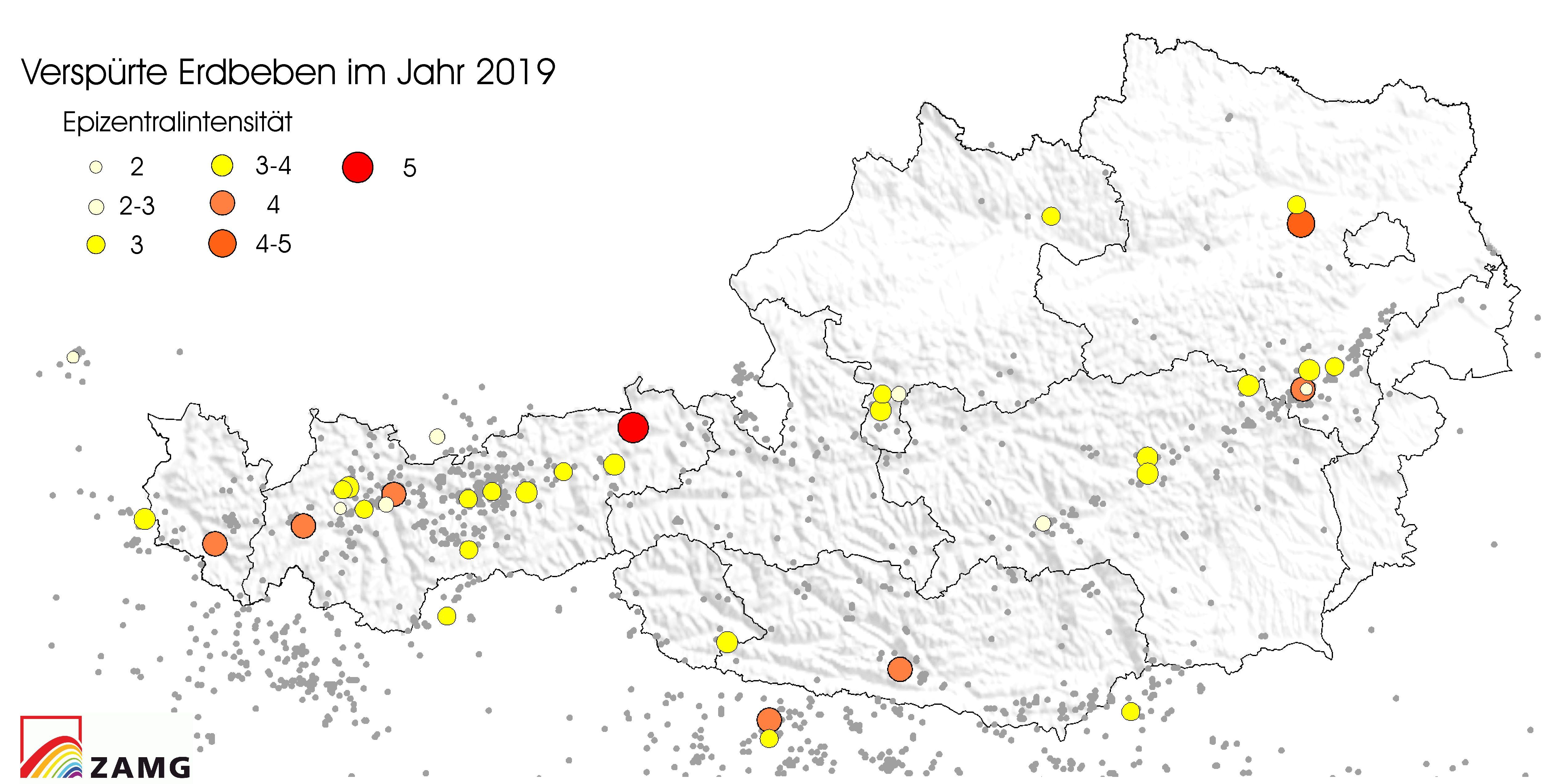 2019 relativ wenige spürbare Erdbeben in Österreich