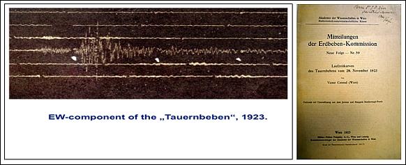 """Linke Abb.: Seismogramm des Tauernbebens mit dem Epizentrum in Tamsweg am 28. November 1923 und einer Magnitude 4,8; rechte Abb.: Publikation """"Laufzeitkurven des Tauernbebens vom 28. November 1923"""". © ZAMG Geophysik Hammerl"""