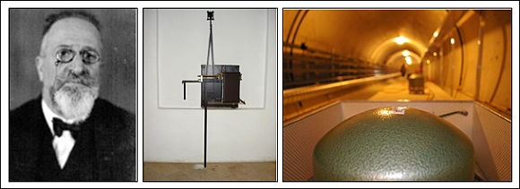 Linke Abb.: Victor Conrads Porträt; mittlere Abb.: Conrad Pendel im ZAMG Museum; rechte Abb.: Moderne seismometrische Breitband – Station am Conrad Observatorium. © ZAMG Geophysik Hammerl