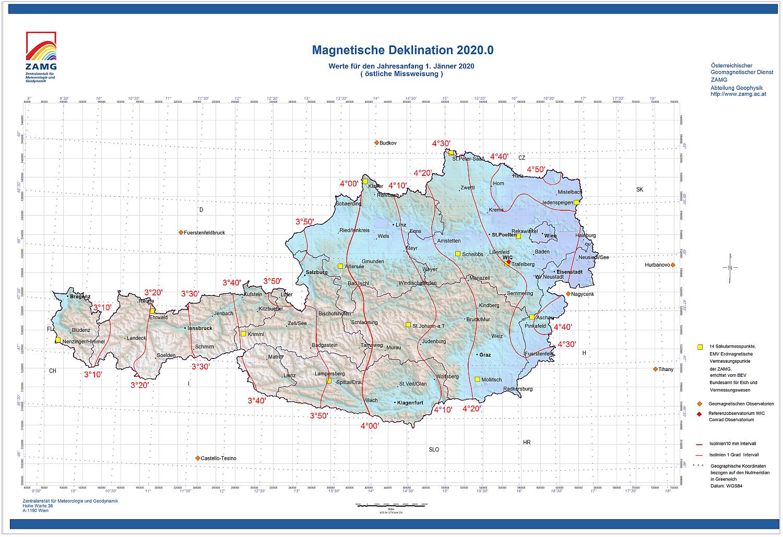 Deklinationskarte 2020