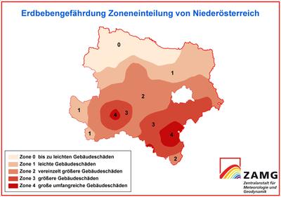 Erdbebenzonen Niederösterreich