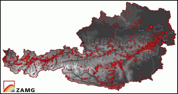 Epizentrenkarte der Beben Österreichs zwischen dem Jahre 1000 bis 2011. © ZAMG Geophysik