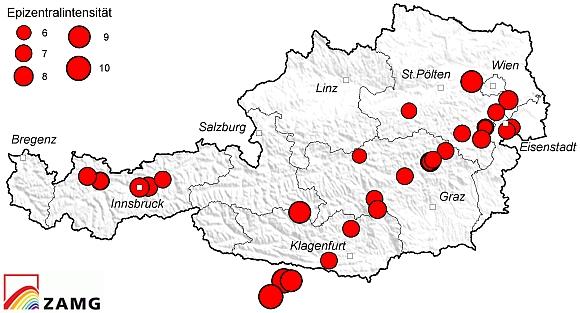 Epizentrenkarte der stärkeren Beben Österreichs seit dem Jahr 1201