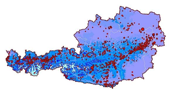 Epizentrenkarte von Österreich neu