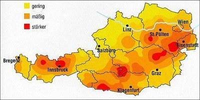 Erdbebengefährdungszonen in Österreich