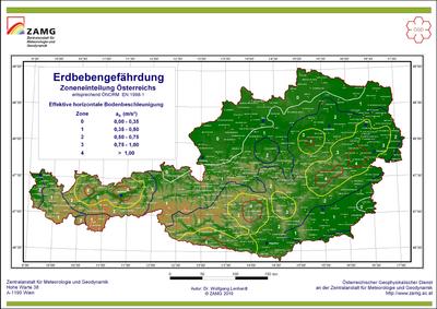 Erdbebengefährdungszonen von Österreich nach ÖNORM EN 1998-1.  © ZAMG Geophysik