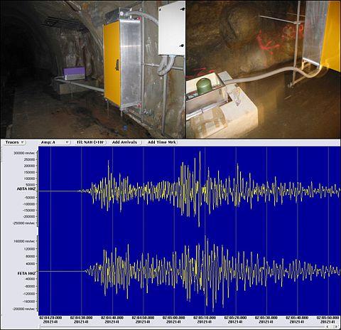 Erdbeben vom 20. Mai 2012  mit einer Magnitude von  6,1 in Norditalien. Aufzeichnungen  an den  Breitband-Stationen  ABTA und  FETA.