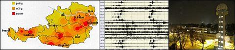 Erdbebengefahrenzonen von Österreich sowie das Monitoring des Österreichischen Erdbebendienstes.