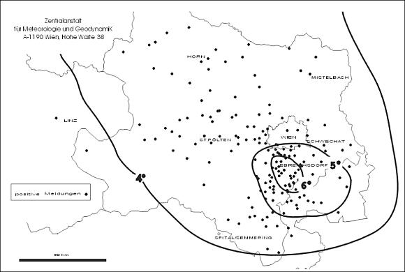 Isoseistenkarte des Erdbebens in Ebreichsdorf, 2000.  ©  ZAMG Geophysik