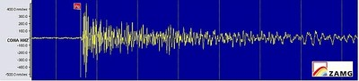 Fliegerbombe Seismogramm