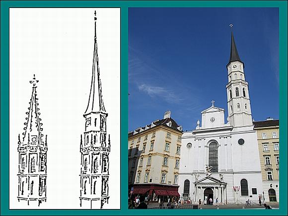 Die Abbildungen zeigen den Turm der Michaelekirche vor dem Beben 1590 sowie nach dem Wiederaufbau. © ZAMG Geophysik