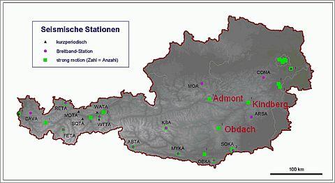 In Admont, Kindberg und Obdach befinden sich Strong-Motion Stationen des Österreichischen Erdbebendienstes.