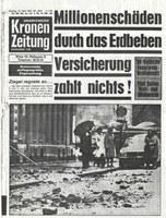 Krone - Schlagzeile zum Beben in Seebenstein 1972