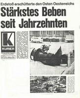 Kurier - Schlagzeile am Tag nach dem Beben