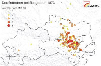 Lokalintensitäten Erdbeben Eichgraben 1873