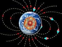 Das Erdmagnetfeld, erzeugt durch einen Geodynamo im äußeren Erdkern.