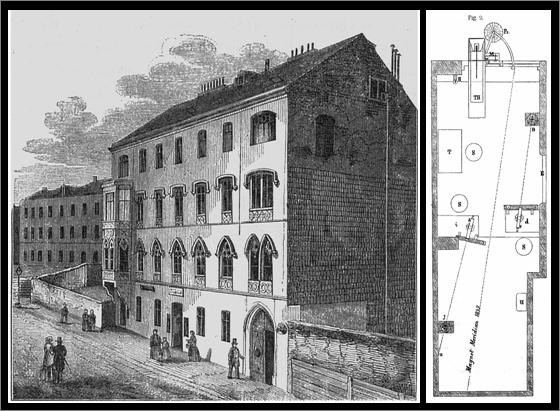 Erste Unterkunft der. k. k. Centralanstalt für Meteorologie und Erdmagnetismus in Wien Wieden, Favoritenstraße Nr. 303. © Jahrbuch ZAMG 1856