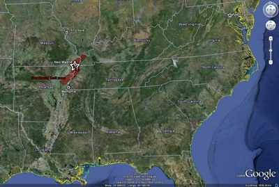 Die Lage des Erdbebens vom 7. Februar 1812 mit dem Verlauf der New Madrid Seismic Zone