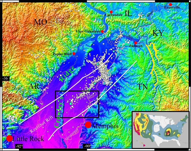Erdbebengefährungskarte der New Madrid Seimic Zone