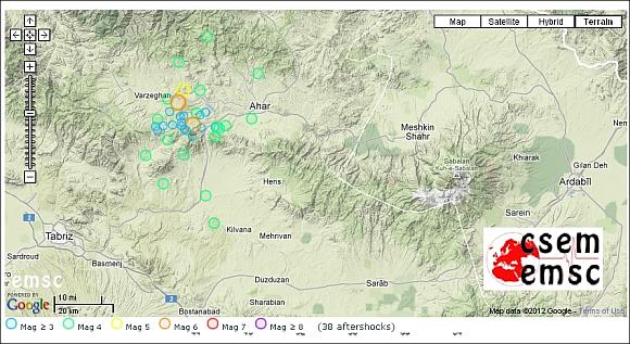 Lage der registrierten Nachbeben bis 12. August 2012. © EMSC