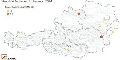 Verspürte Erdbeben im Feber 2014