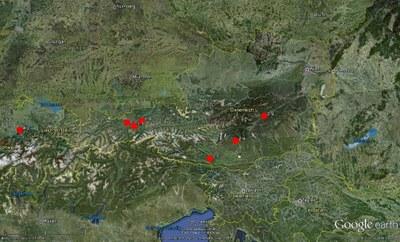 Verteilung der im Februar registrierten Erdbeben in Österreich