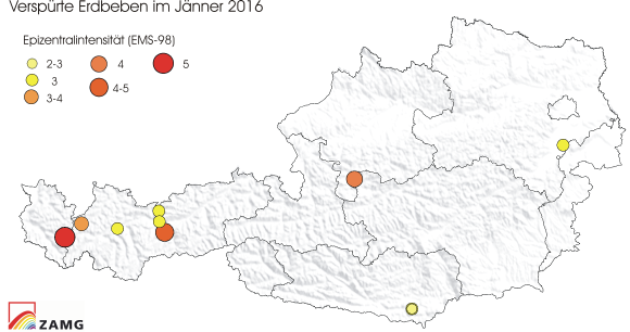 Erdbeben im Jänner 2016
