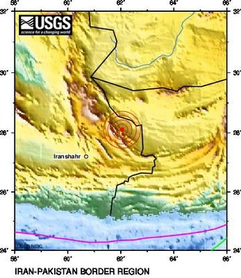 Schweres Erdbeben im Iran am 16. April 2013 - Location