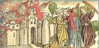 Holzschnitt aus der 'Weltchronik' von Hartmann Schedel, 1493. 'Und der Engel nahm das Rauchfaß und füllte es mit Feuer vom Altar und warf es auf die Erde, und Donner folgten, Getöse, Blitze und Beben.' Offenbarung 8,5 © ZAMG Geophysik Hammerl
