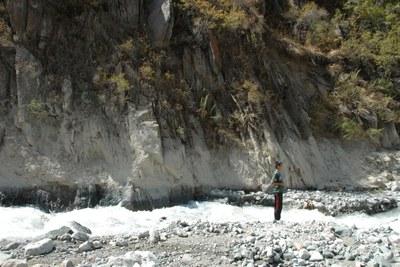 Kirgistan Gletscherseeausbruch Anschlaglinie (© ZAMG/Reisenhofer)