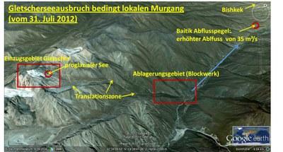 Kirgistan Gletscherseeausbruch Karte (© ZAMG/Reisenhofer)
