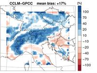 Mittlere Differenzen der Niederschlagssumme zwischen CCLM – GPCC, 1961-2000