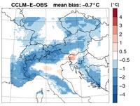 Mittlere Differenzen der Temperatur zwischen CCLM – E-OBS, 1961-2000
