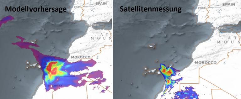 Modellvorhersage (links) des Saharastaubtransportes am 23. 2. 2020. Messungen des Aerosolindexes von TROPOMI (rechts).