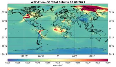 Simulation von Waldbränden am 9. August mit dem globalen Modellsystem für Naturkatastrophen WRF-Chem der ZAMG