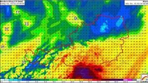 ©ZAMG: Prognose - Niederschlag im Wettermodell