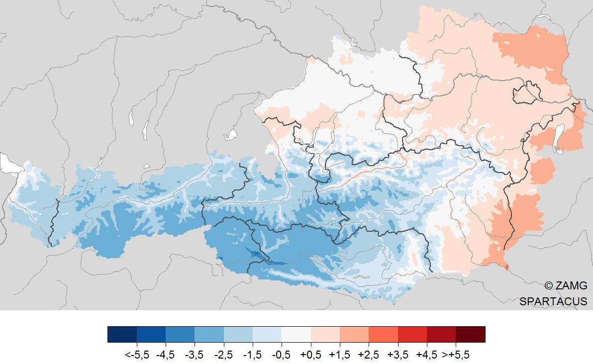 Jänner 2021: große Unterschiede bei Temperatur und Niederschlag
