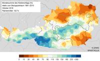 Oktober 2018: sehr mild, im Norden trocken, im Süden sehr nass