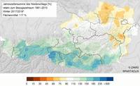 Winter 2017/2018 trüb und im Großteil des Berglands viel Schnee