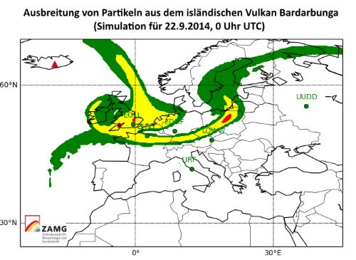 Hohe SO2-Werte in Teilen Österreichs durch isländischen Vulkan