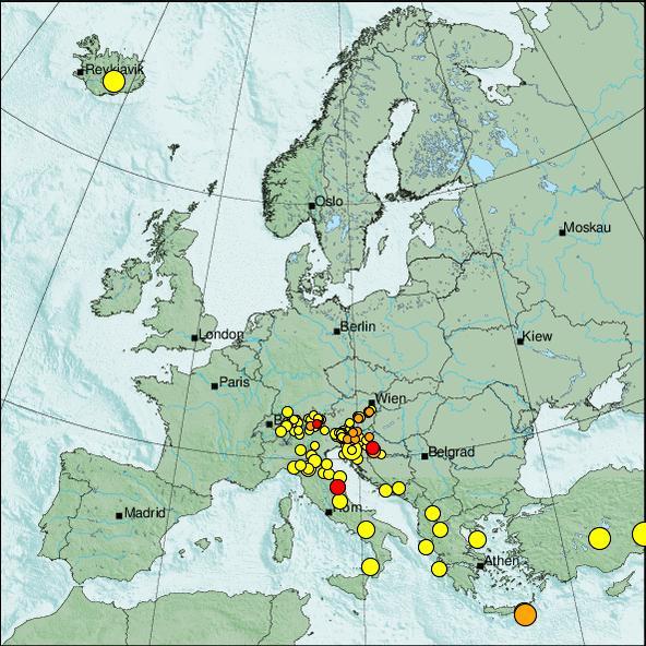 Mittelmeer Karte Europa.Karten Und Listen Seismischer Aktivitat Zamg